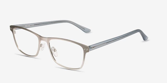 Comity Silver Metal Eyeglass Frames from EyeBuyDirect, Angle View