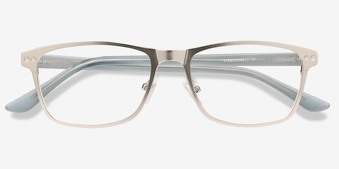Comity Silver Metal Eyeglass Frames from EyeBuyDirect, Closed View