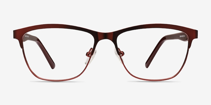 Volary Red Acetate Eyeglass Frames from EyeBuyDirect, Front View