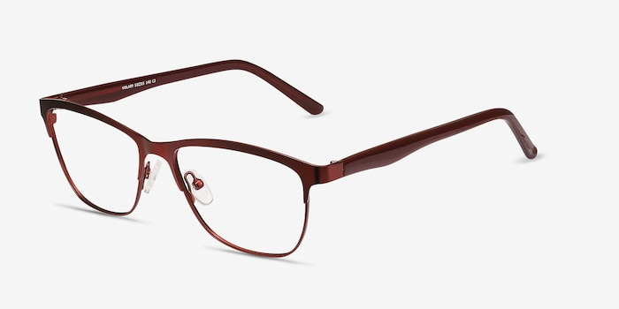 Volary Red Acetate Eyeglass Frames from EyeBuyDirect, Angle View