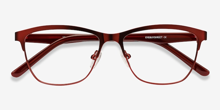 Volary Red Acetate Eyeglass Frames from EyeBuyDirect, Closed View
