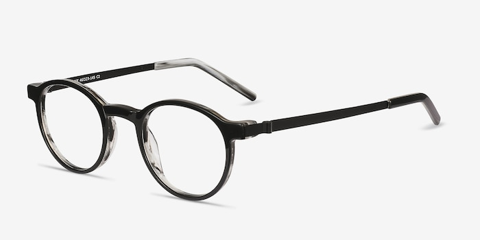 Anomaly Black Acetate Eyeglass Frames from EyeBuyDirect, Angle View
