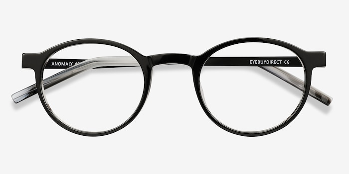 Anomaly Black Acetate Eyeglass Frames from EyeBuyDirect, Closed View