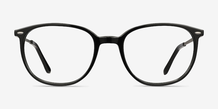 Eros Black Acetate Eyeglass Frames from EyeBuyDirect, Front View