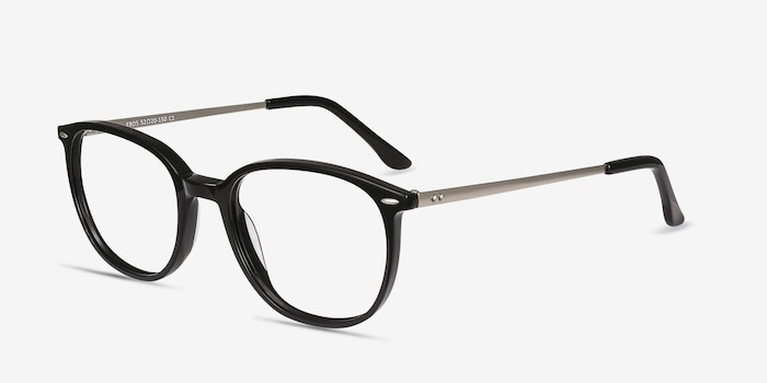 Eros Black Metal Eyeglass Frames from EyeBuyDirect, Angle View