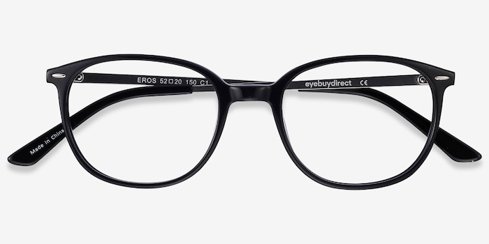 Eros Black Acetate Eyeglass Frames from EyeBuyDirect, Closed View