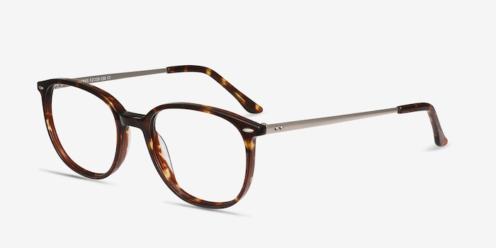 Eros Tortoise Metal Eyeglass Frames from EyeBuyDirect, Angle View