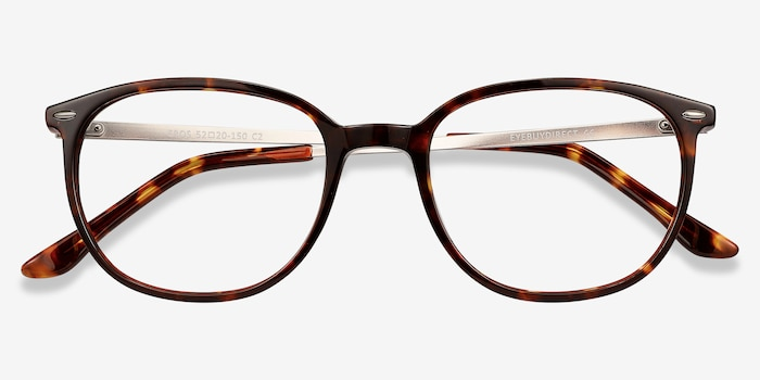 Eros Tortoise Metal Eyeglass Frames from EyeBuyDirect, Closed View