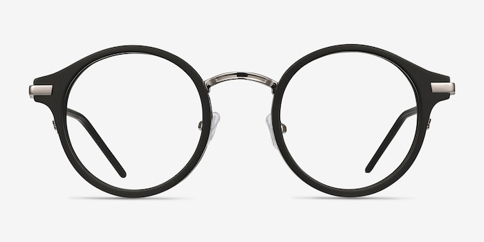 Roto Black Acetate Eyeglass Frames from EyeBuyDirect, Front View