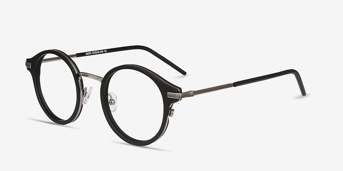 Roto Black Acetate Eyeglass Frames from EyeBuyDirect, Angle View