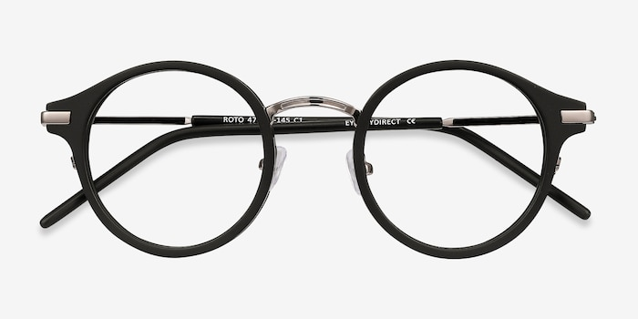 Roto Black Acetate Eyeglass Frames from EyeBuyDirect, Closed View