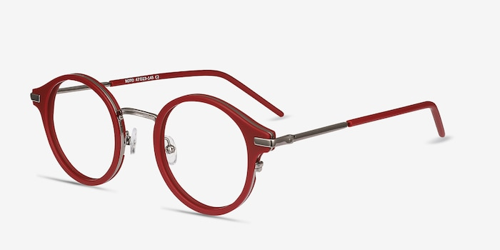 Roto Red Acetate Eyeglass Frames from EyeBuyDirect, Angle View