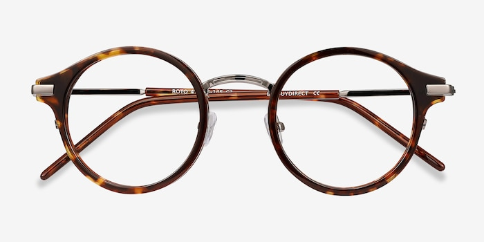 Roto Tortoise Acetate Eyeglass Frames from EyeBuyDirect, Closed View