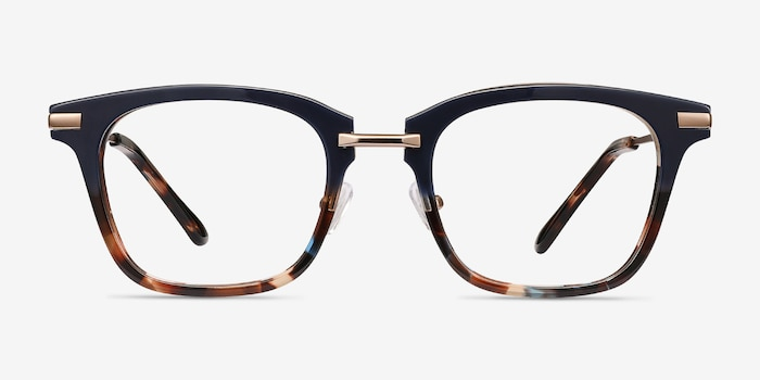 Candela Blue Floral Metal Eyeglass Frames from EyeBuyDirect, Front View