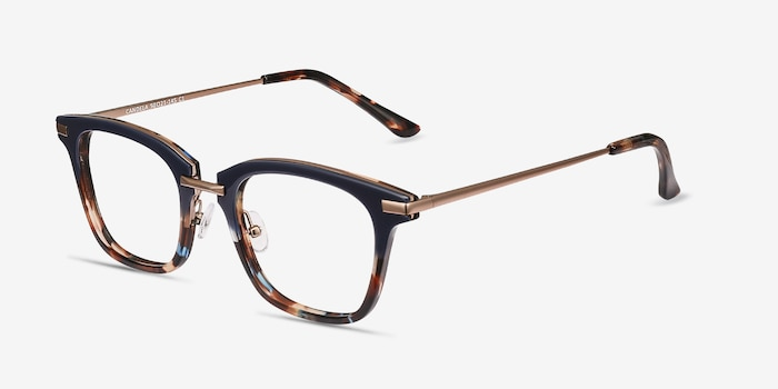 Candela Blue Floral Metal Eyeglass Frames from EyeBuyDirect, Angle View