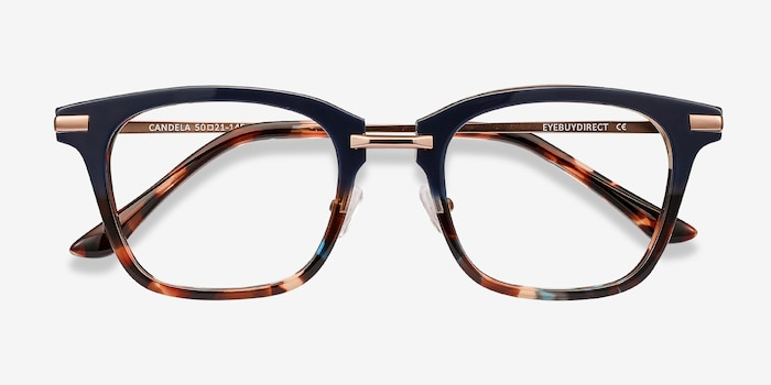 Candela Blue Floral Metal Eyeglass Frames from EyeBuyDirect, Closed View