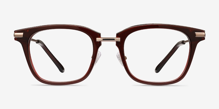 Candela Burgundy Acetate-metal Eyeglass Frames from EyeBuyDirect, Front View
