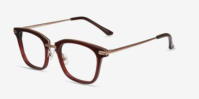 Candela Burgundy Acetate-metal Eyeglass Frames from EyeBuyDirect, Angle View