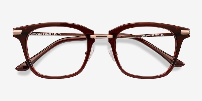 Candela Burgundy Metal Eyeglass Frames from EyeBuyDirect, Closed View