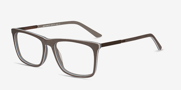 Instance Brown Metal Eyeglass Frames from EyeBuyDirect, Angle View