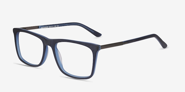Instance Blue Acetate-metal Eyeglass Frames from EyeBuyDirect, Angle View