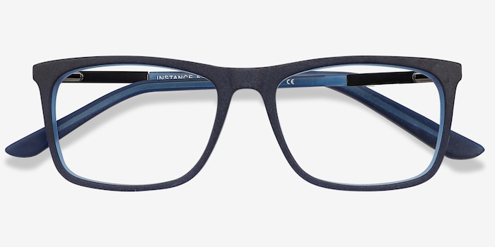 Instance Blue Acetate Eyeglass Frames from EyeBuyDirect, Closed View