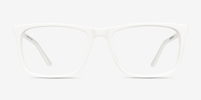 Instance White Acetate Eyeglass Frames from EyeBuyDirect, Front View