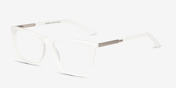 Instance White Metal Eyeglass Frames from EyeBuyDirect, Angle View