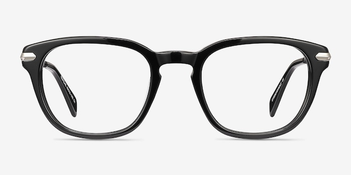 Quazar Black Metal Eyeglass Frames from EyeBuyDirect, Front View