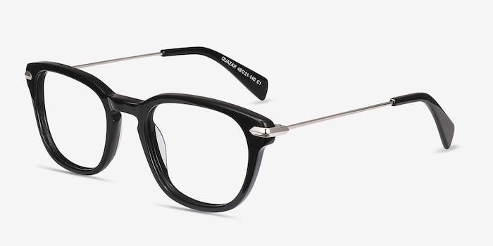 Quazar Black Metal Eyeglass Frames from EyeBuyDirect, Angle View