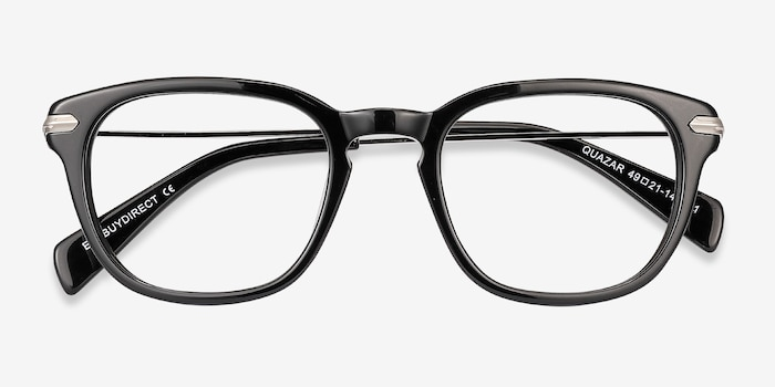 Quazar Black Metal Eyeglass Frames from EyeBuyDirect, Closed View