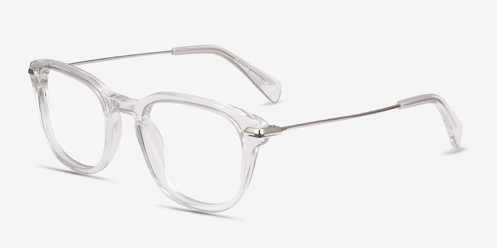 Quazar Clear Acetate Eyeglass Frames from EyeBuyDirect, Angle View