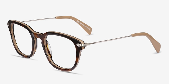 Quazar Tortoise Acetate Eyeglass Frames from EyeBuyDirect, Angle View