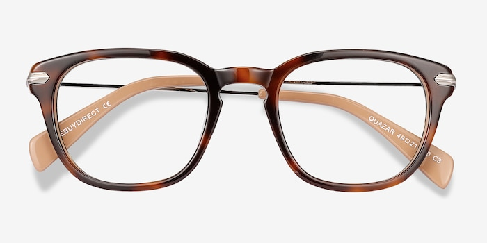 Quazar Tortoise Acetate Eyeglass Frames from EyeBuyDirect, Closed View