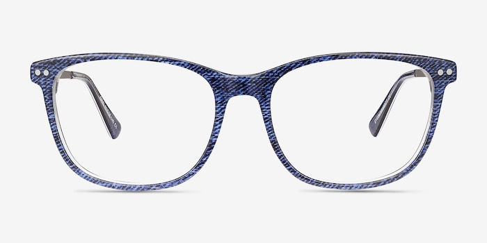 Grid Blue Acetate Eyeglass Frames from EyeBuyDirect, Front View