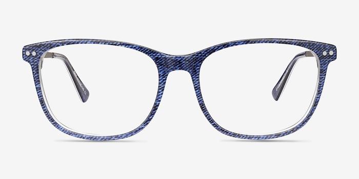 Grid Bleu Acétate Montures de Lunettes d'EyeBuyDirect, Vue de Face