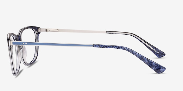 Grid Blue Acetate Eyeglass Frames from EyeBuyDirect, Side View