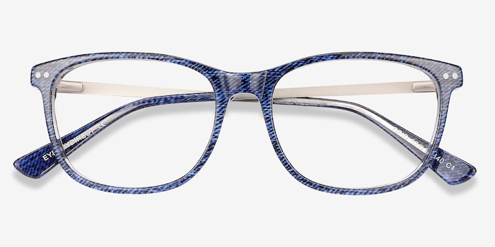 Grid Bleu Acétate Montures de Lunettes d'EyeBuyDirect, Vue Rapprochée