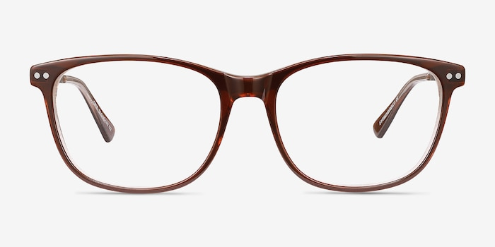 Grid Brown Acetate Eyeglass Frames from EyeBuyDirect, Front View