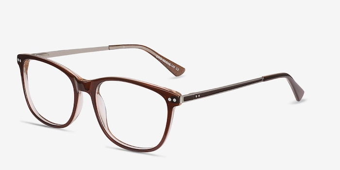 Grid Brown Metal Eyeglass Frames from EyeBuyDirect, Angle View