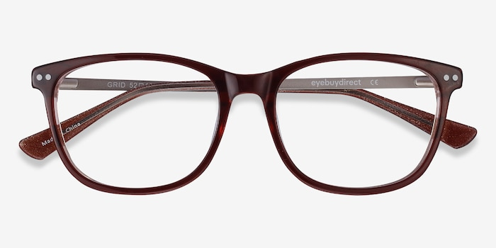 Grid Brown Acetate Eyeglass Frames from EyeBuyDirect, Closed View