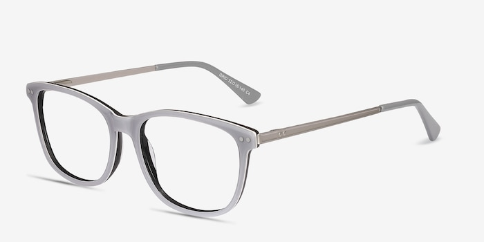 Grid Gray Acetate Eyeglass Frames from EyeBuyDirect, Angle View