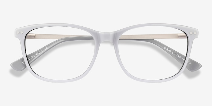 Grid Gray Acetate Eyeglass Frames from EyeBuyDirect, Closed View