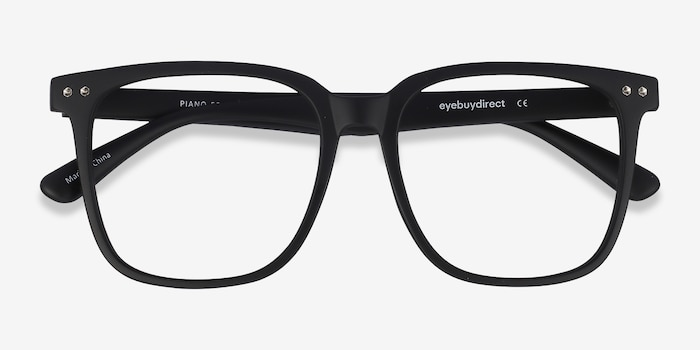 Piano Black Plastic Eyeglass Frames from EyeBuyDirect, Closed View