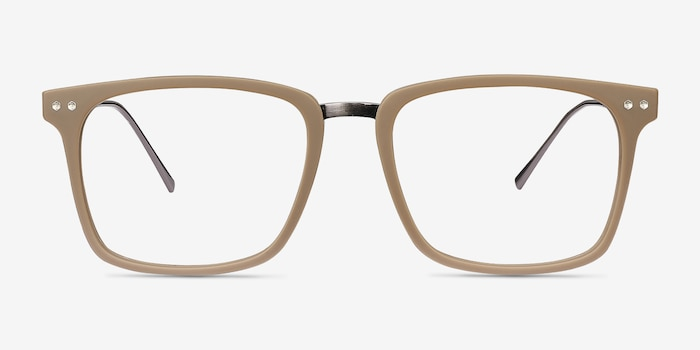 Forte Brown Plastic Eyeglass Frames from EyeBuyDirect, Front View