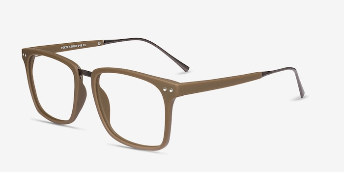 Forte Brown Plastic Eyeglass Frames from EyeBuyDirect, Angle View