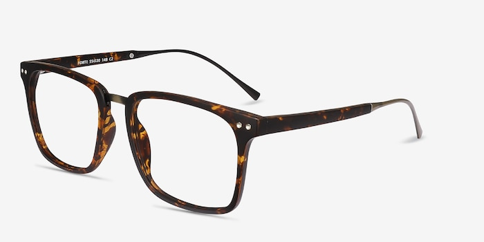 Forte Tortoise Plastic Eyeglass Frames from EyeBuyDirect, Angle View