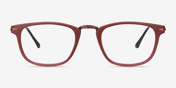 Catcher Burgundy Metal Eyeglass Frames from EyeBuyDirect, Front View