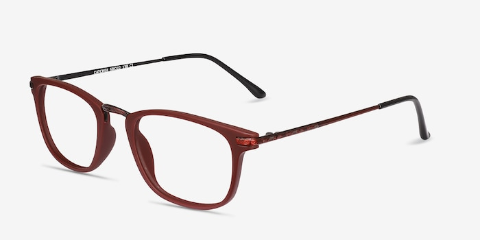 Catcher Burgundy Metal Eyeglass Frames from EyeBuyDirect, Angle View