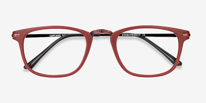 Catcher Burgundy Metal Eyeglass Frames from EyeBuyDirect, Closed View